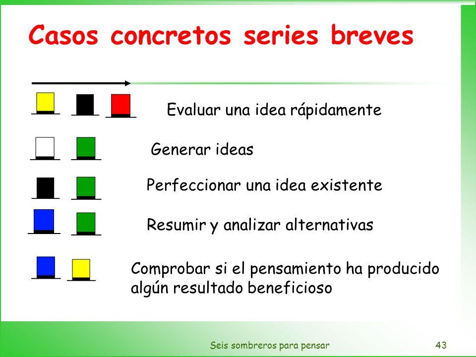 Seis sombreros para pensar43 Casos concretos series breves Evaluar una idea rápidamente Generar ideas Perfeccionar una idea existente Resumir y analiz