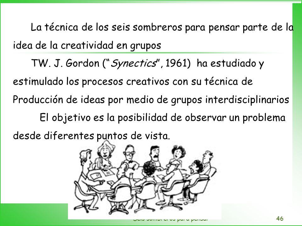 Seis sombreros para pensar46 La técnica de los seis sombreros para pensar parte de la idea de la creatividad en grupos TW. J. Gordon (Synectics, 1961)