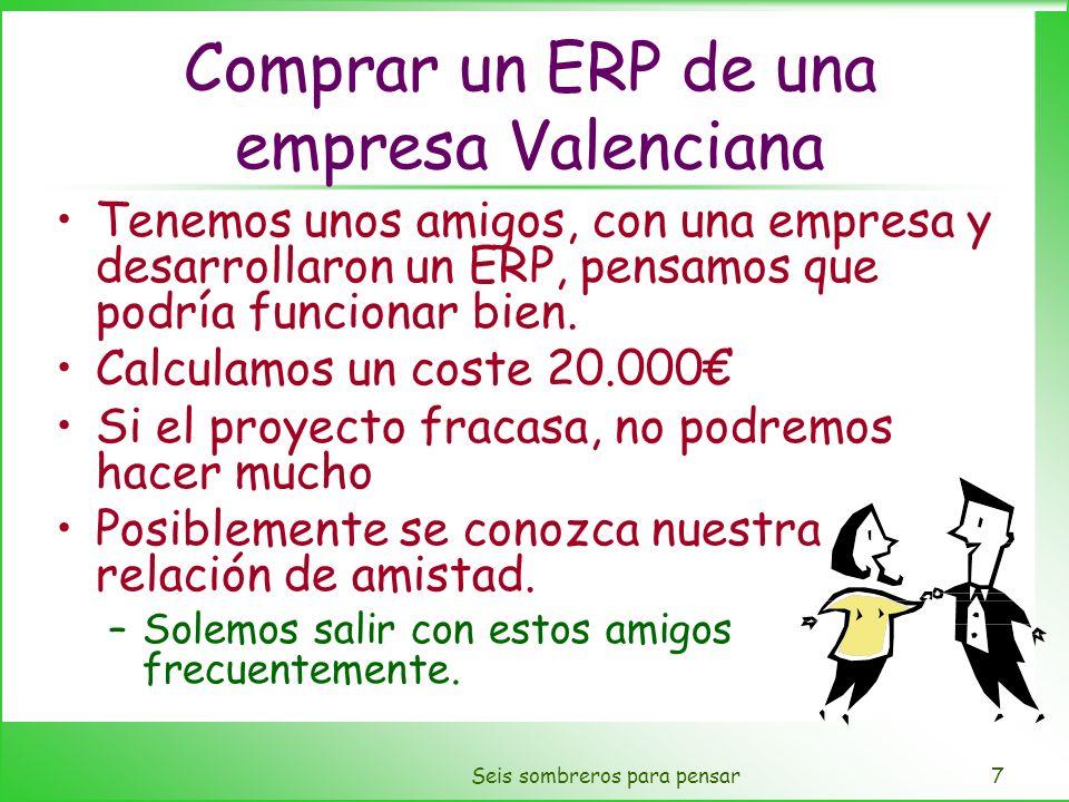 Seis sombreros para pensar7 Comprar un ERP de una empresa Valenciana Tenemos unos amigos, con una empresa y desarrollaron un ERP, pensamos que podría