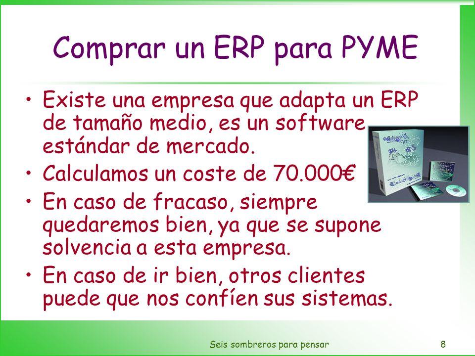 Seis sombreros para pensar8 Comprar un ERP para PYME Existe una empresa que adapta un ERP de tamaño medio, es un software estándar de mercado. Calcula