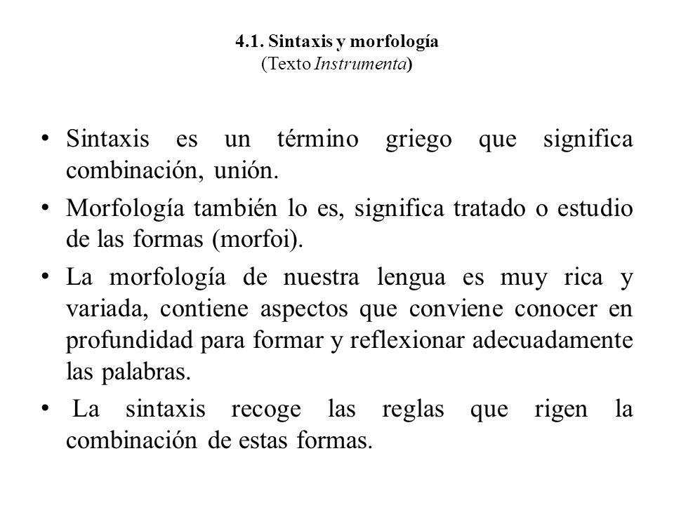 4.1. Sintaxis y morfología (Texto Instrumenta) Sintaxis es un término griego que significa combinación, unión. Morfología también lo es, significa tra