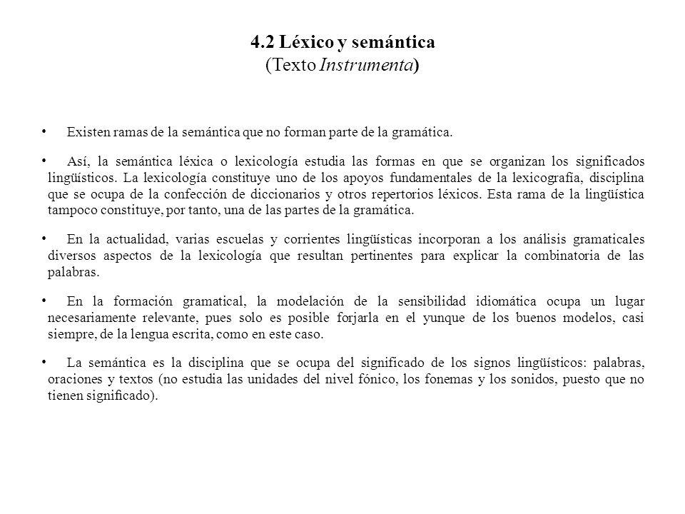 4.2 Léxico y semántica (Texto Instrumenta) Existen ramas de la semántica que no forman parte de la gramática. Así, la semántica léxica o lexicología e