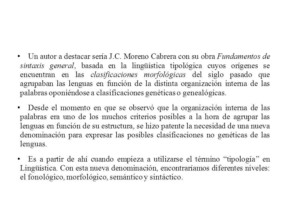 Un autor a destacar sería J.C. Moreno Cabrera con su obra Fundamentos de sintaxis general, basada en la lingüística tipológica cuyos orígenes se encue