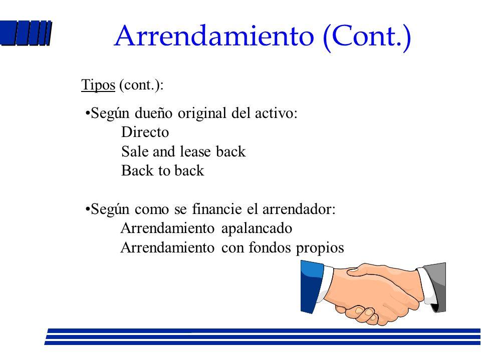 Arrendamiento Acuerdo mediante el cual el dueño de un activo (arrendador) otorga a otra parte (arrendatario) el derecho a usarlo a cambio de pago de alquiler.