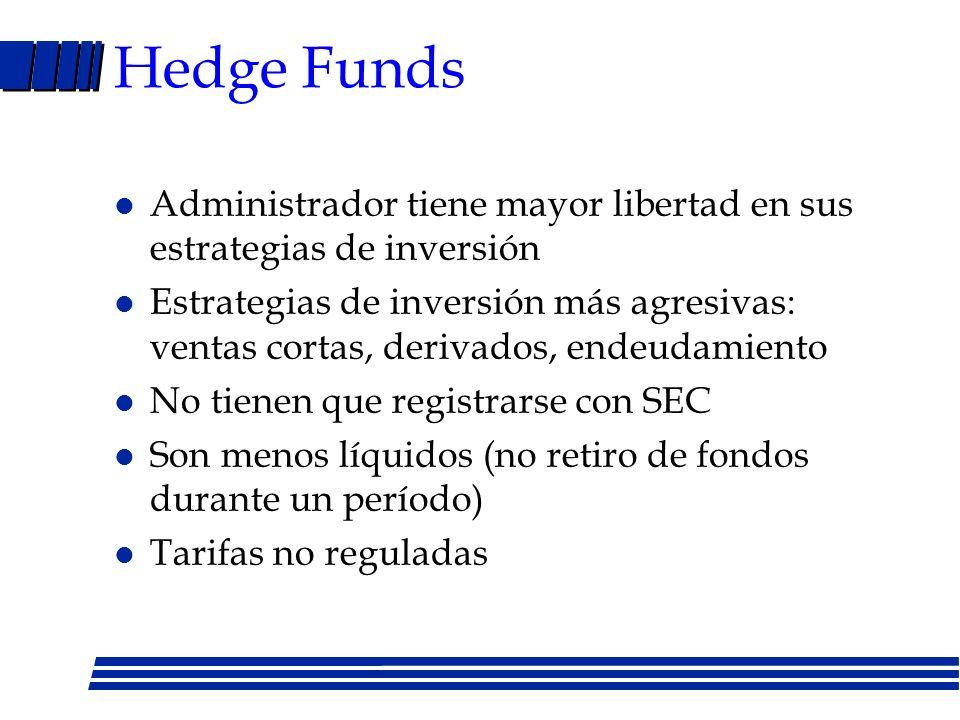 Fondos Mutuales l Son vehículos de inversión colectiva (varios inversionistas confían su dinero a un administrados) l Invierten en instrumentos financ