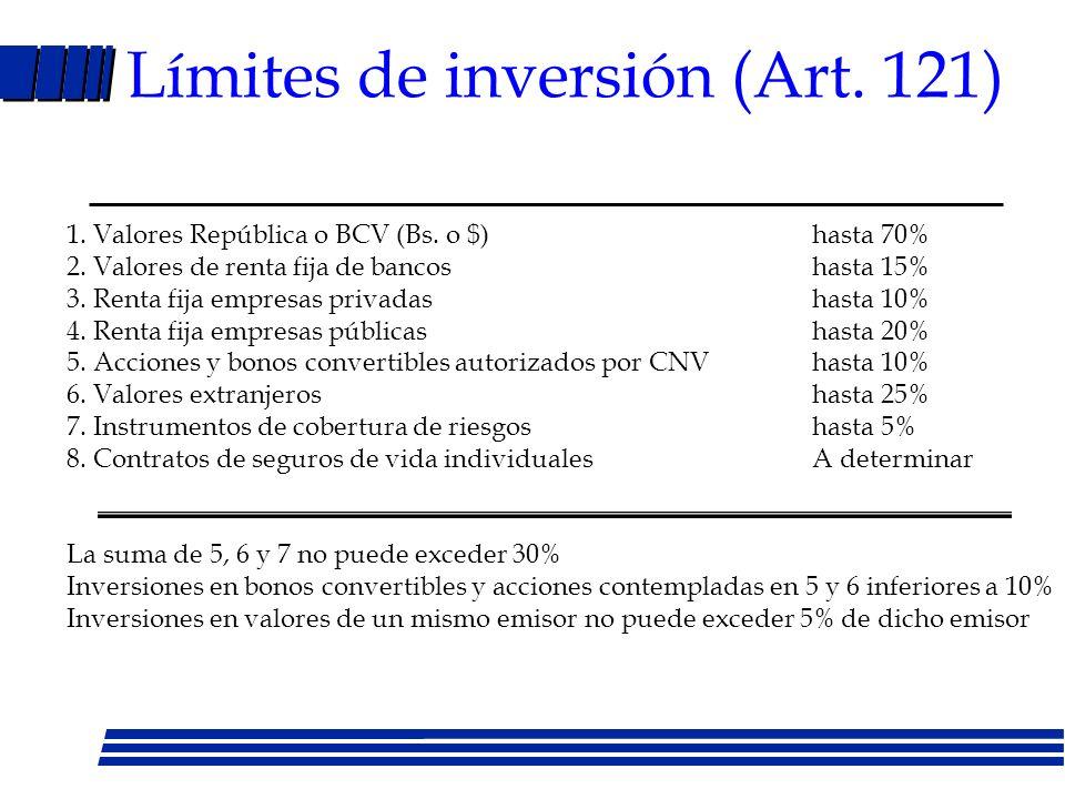 Monto y distribución de cotizaciones (artículo 21) l Cotizaciones –Menos de 4 salarios mínimos 12% sueldo –Más de 4 salarios mínimos 13% sueldo –Emple
