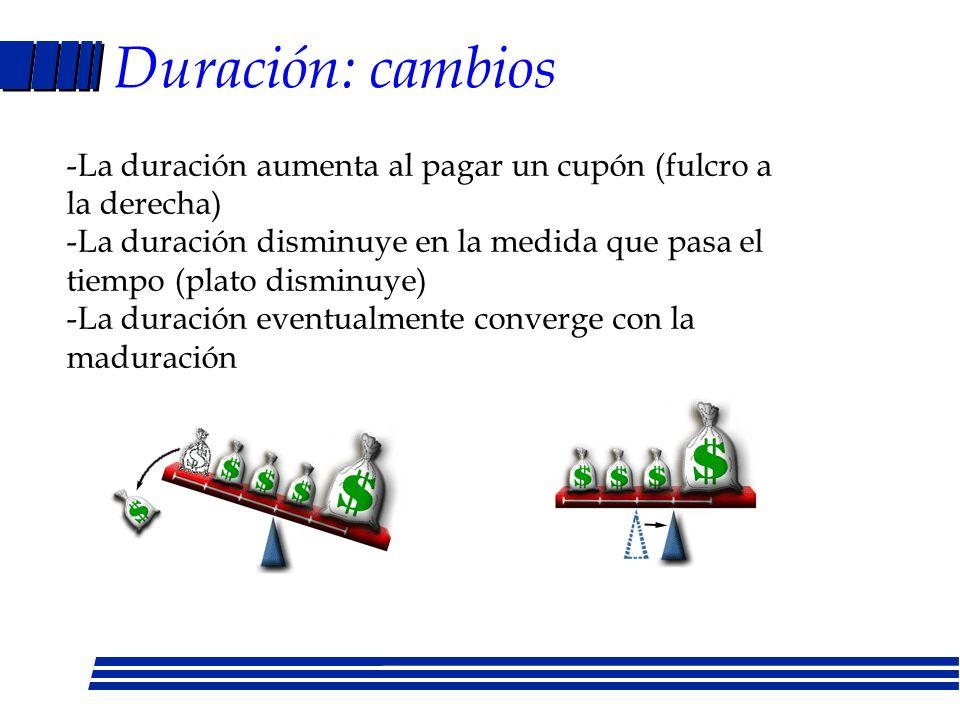 Duración Bono NormalCero Cupón Promedio ponderado de las veces que se recibirán los intereses y el principal en el futuro Duración = {(VA(C1)/V) * 1} + {(VA(C2)/V)*2....