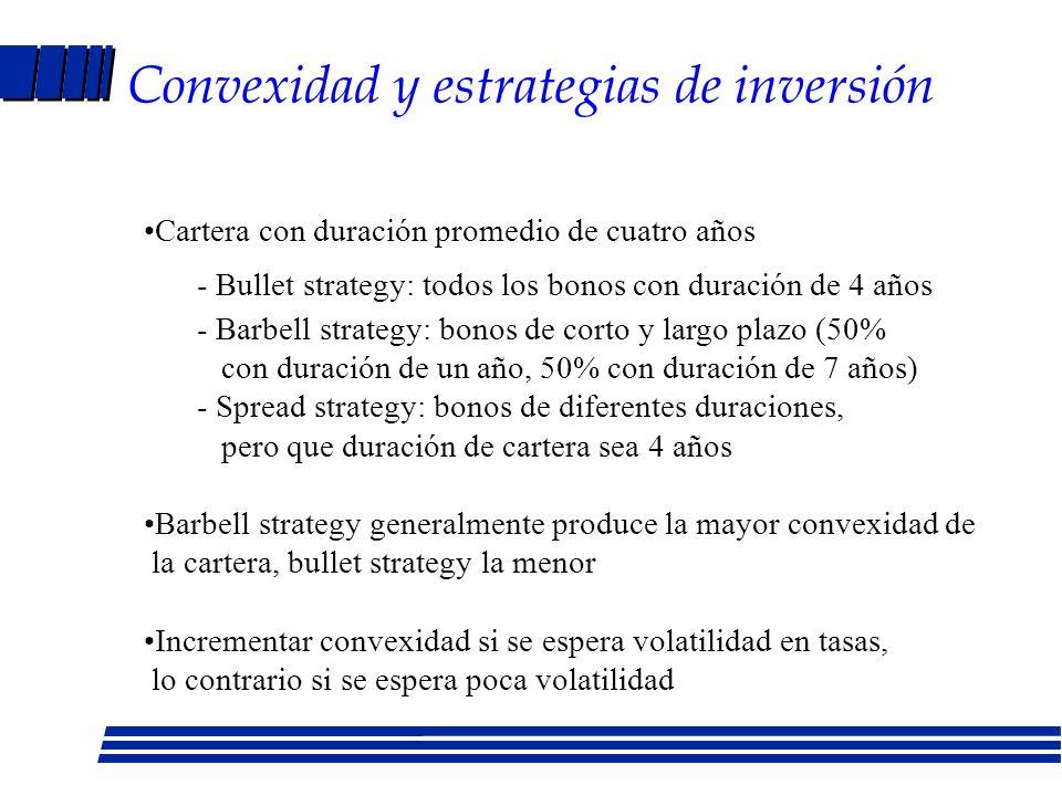 Causas de la convexidad A mayor vencimiento, mayor convexidad A mayor tasa cupón, menor convexidad A mayor duración, mayor convexidad Si tasas de inte