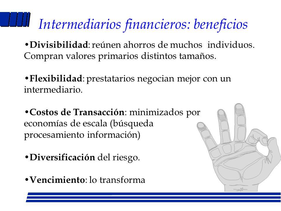 Funciones de los mercados financieros Transferencia de fondos de unidades con excedentes a unidades que necesitan invertir en activos tangibles Redist
