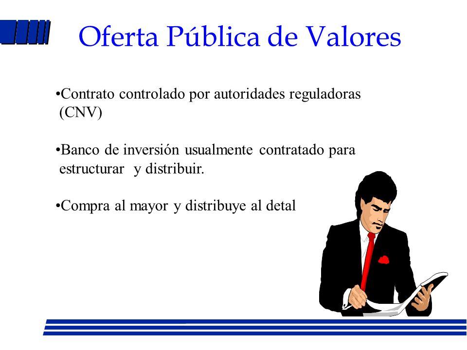 Oferta de Valores Privada - Contrato simple, restrictivo, fácil de negociar Pública: oferta hecha por cualquier medio de publicidad o de difusión (art