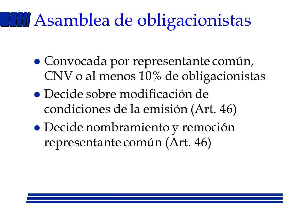 Principales deberes repres. común de los obligacionistas (Art. 43) l Ejecutar decisiones asamblea obligacionistas l Comprobar existencia/valor bienes