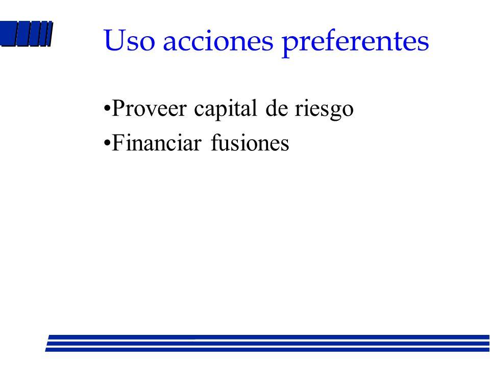 Acciones preferentes Acciones con prioridad en pago de dividendos - Convertibles - Redimibles - Acumulativas - Participantes Desventaja Dividendo no d