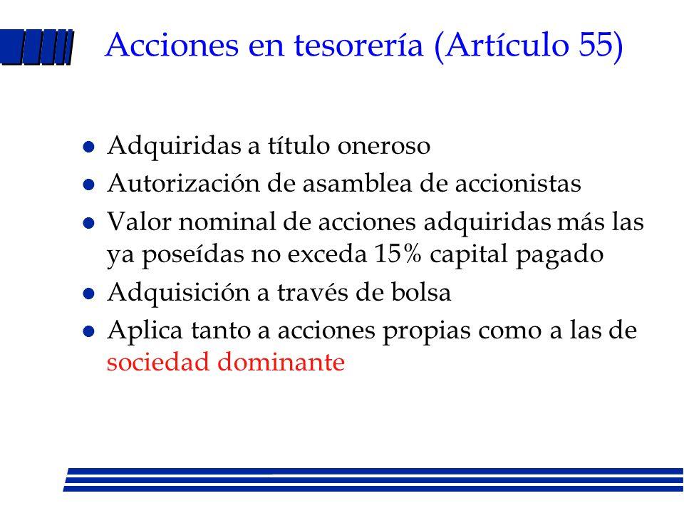 LMC: derechos de los accionistas Derecho a voto (directo o por mandato) Derecho a dividendos: 1.-Efectivo/Acciones Art. 112 LMC: Sociedades deben esta