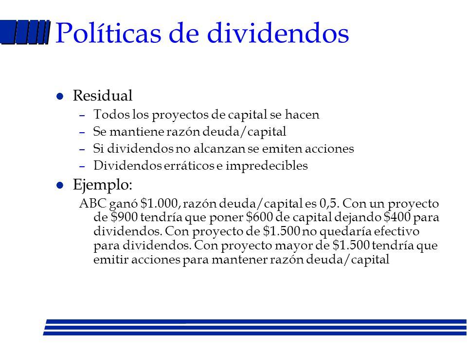 Factores que hacen relevante Política de dividendos - Impuestos personales /corporativos - Costos de emisión de nuevas acciones - Restricciones a los dividendos (deuda) - Deseos de obtener ingresos ahora y costos de transacción