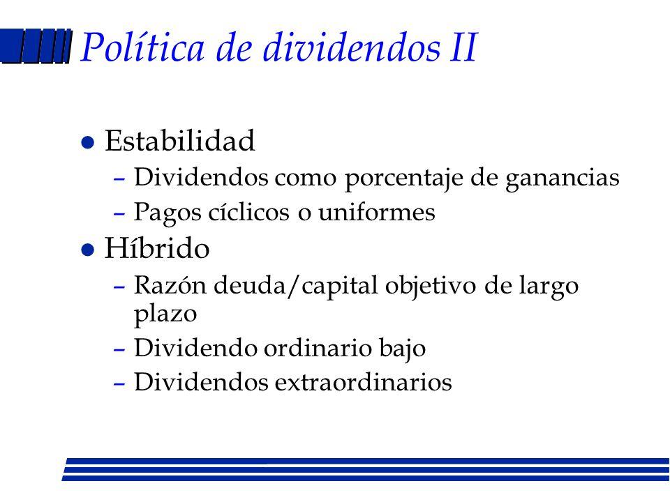 Políticas de dividendos l Residual –Todos los proyectos de capital se hacen –Se mantiene razón deuda/capital –Si dividendos no alcanzan se emiten acci