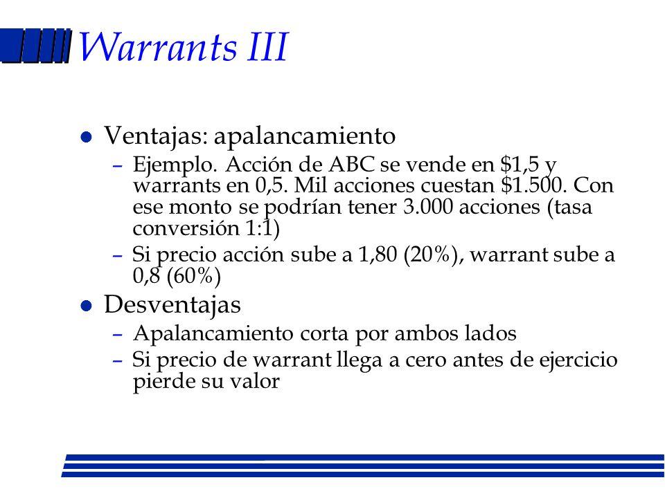 Warrants II l Diferencias con opciones –Tiempo ejercicio mayor a un año –Emitidos por empresa, no por inversionista que tiene acciones –Al ejercer aum