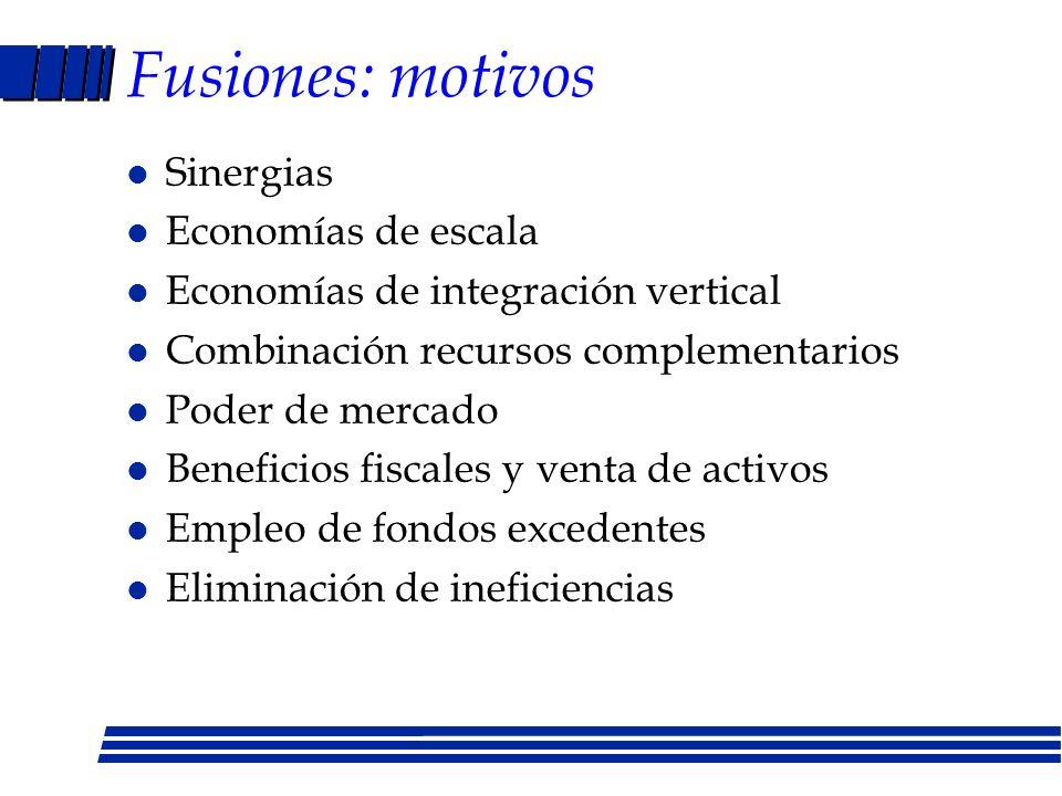 Fusiones: procedimientos jurídicos Fusión: adquirida desaparece consolidación: se crea empresa nueva Adquisición de acciones comunes Adquisición de ac