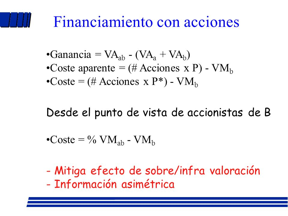 Financiamiento con tesorería Ganancia Económica = VA ab - (VA a + VA b ) Coste = tesorería - VM b VAN = ganancia – coste Ejemplo: A vale $300 MM y B $