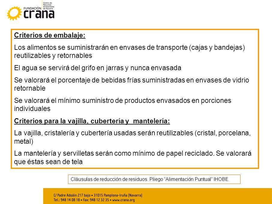 Cláusulas de reducción de residuos. Pliego Alimentación Puntual IHOBE Criterios de embalaje: Los alimentos se suministrarán en envases de transporte (