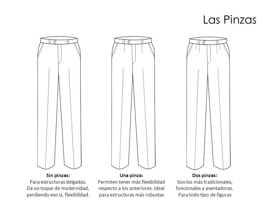 Las Pinzas Sin pinzas: Para estructuras delgadas. Da un toque de modernidad, perdiendo eso sí, flexibilidad. Una pinza: Permiten tener más flexibilida