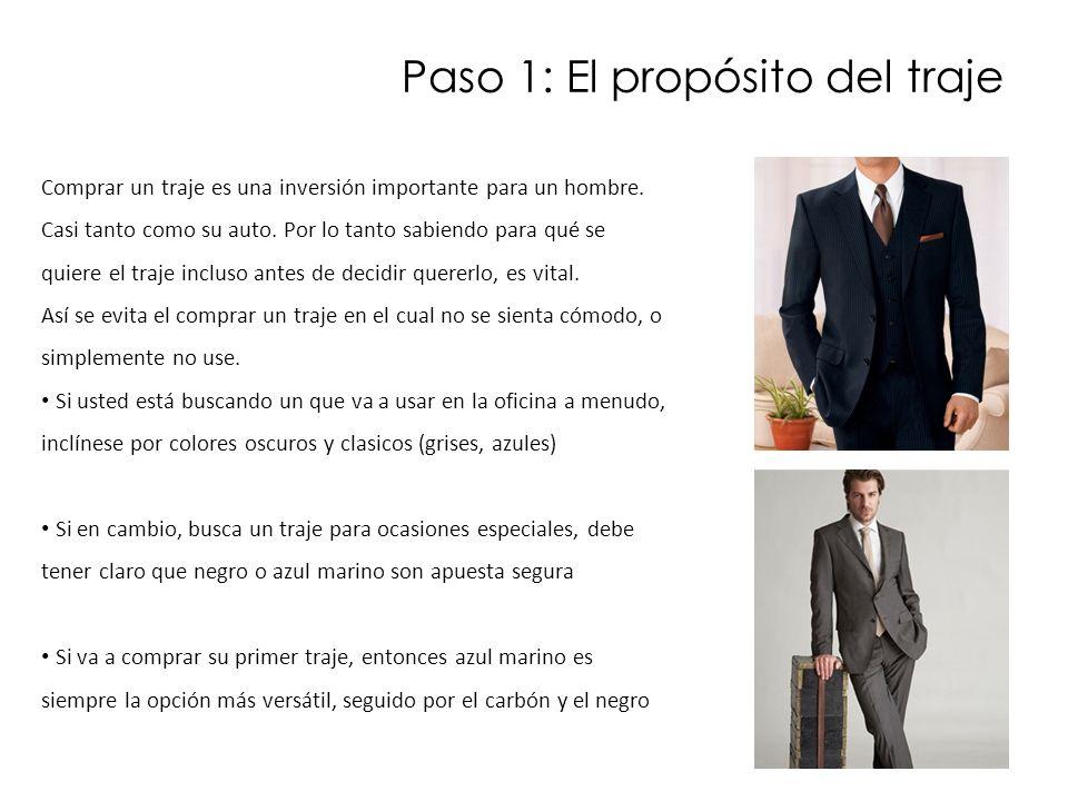 Paso 1: El propósito del traje Comprar un traje es una inversión importante para un hombre. Casi tanto como su auto. Por lo tanto sabiendo para qué se