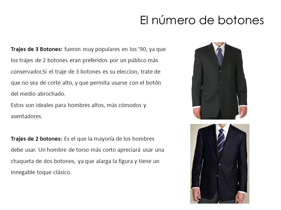 El número de botones Trajes de 3 Botones: fueron muy populares en los 90, ya que los trajes de 2 botones eran preferidos por un público más conservado