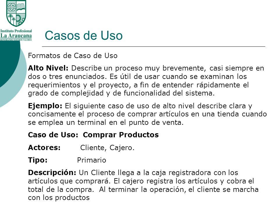 Casos de Uso Pasos del Proceso en un sistema del Punto de Venta 3.Escriba algunos casos esenciales expandidos de uso Consideraremos los Casos de uso Realmente significativo - Comprar Productos.
