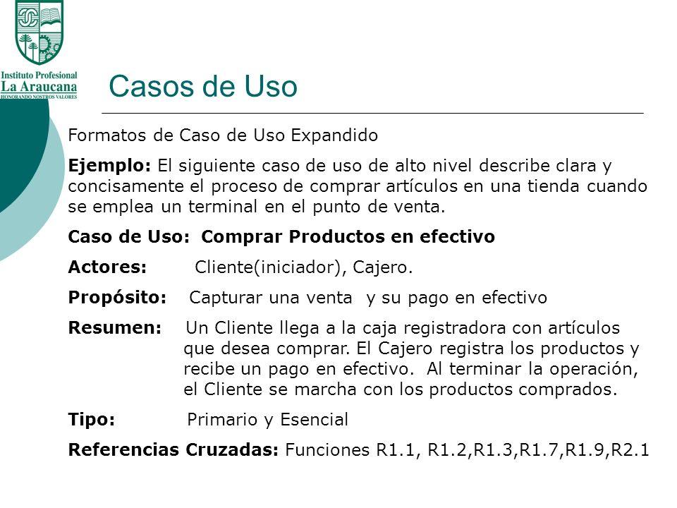 Casos de Uso Referencias Cruzadas: Funciones R1.1, R1.2,R1.3,R1.7,R1.9,R2.1