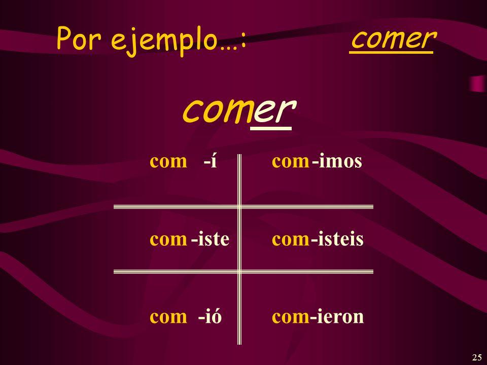 24 To form the simple past of –er –ir verbs: Verb endings -í -iste -ió -imos -isteis -ieron