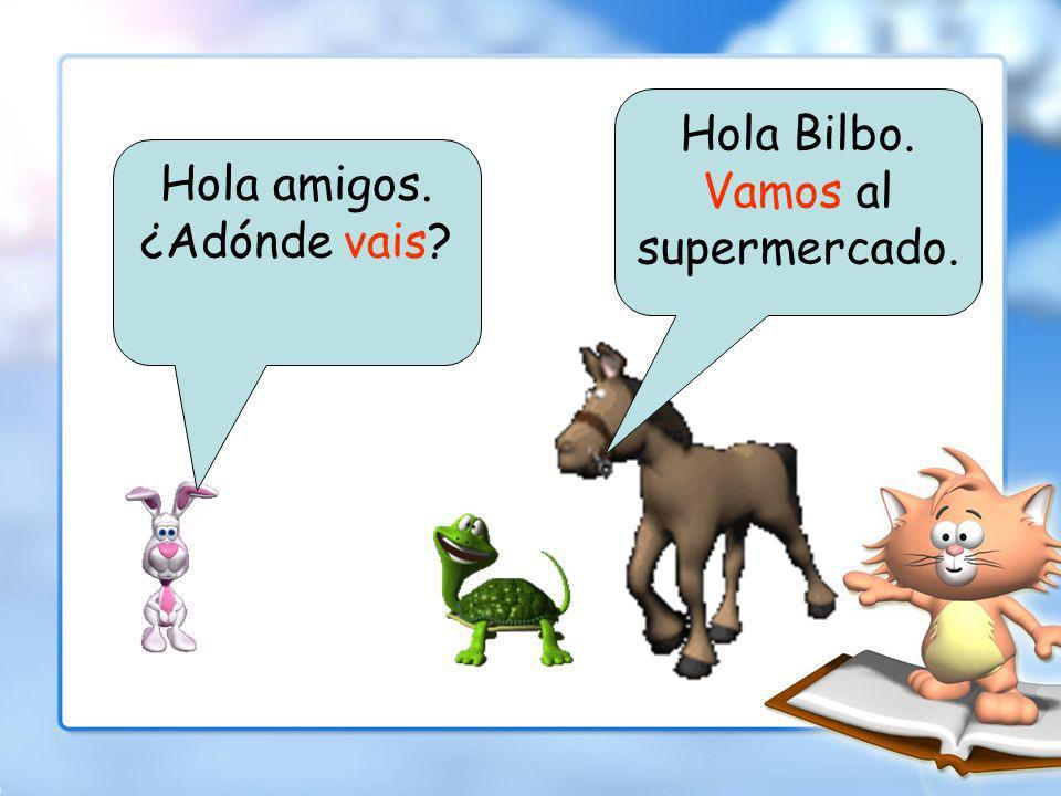 Pablo el caballo y Ana la tortuga están andando en la calle cuando encontran Bilbo el conejo.