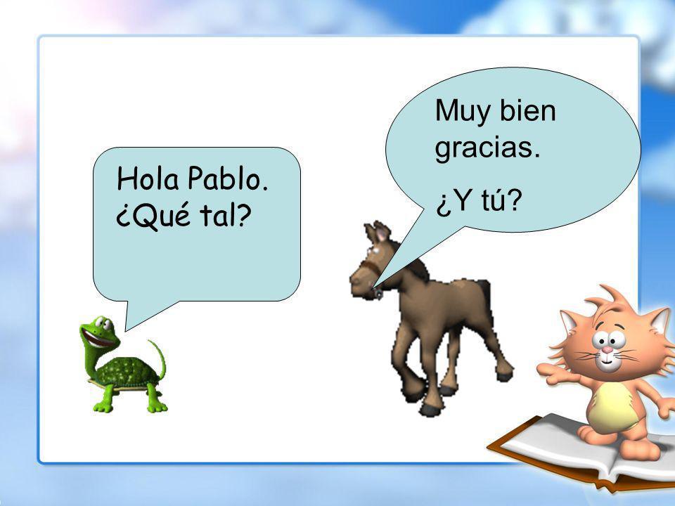 Pablo el caballo está andando en la calle, cuando encontra Ana la tortuga.