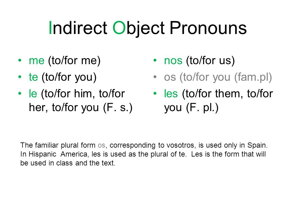 Indirect Object Pronouns me (to/for me) te (to/for you) le (to/for him, to/for her, to/for you (F.