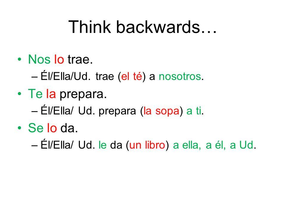 Think backwards… Nos lo trae.–Él/Ella/Ud. trae (el té) a nosotros.