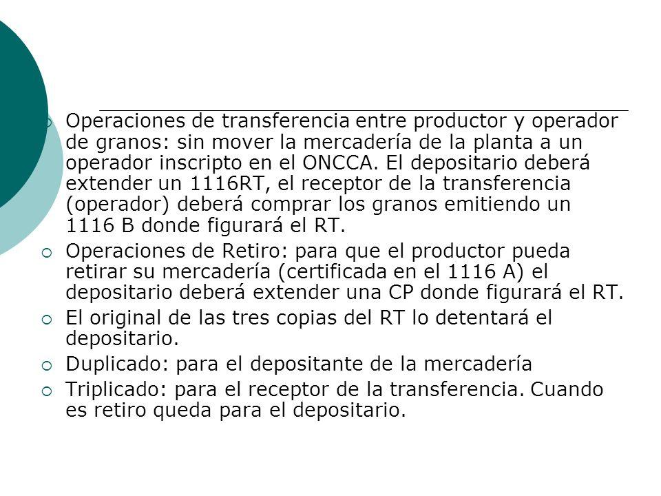 Operaciones de transferencia entre productor y operador de granos: sin mover la mercadería de la planta a un operador inscripto en el ONCCA.
