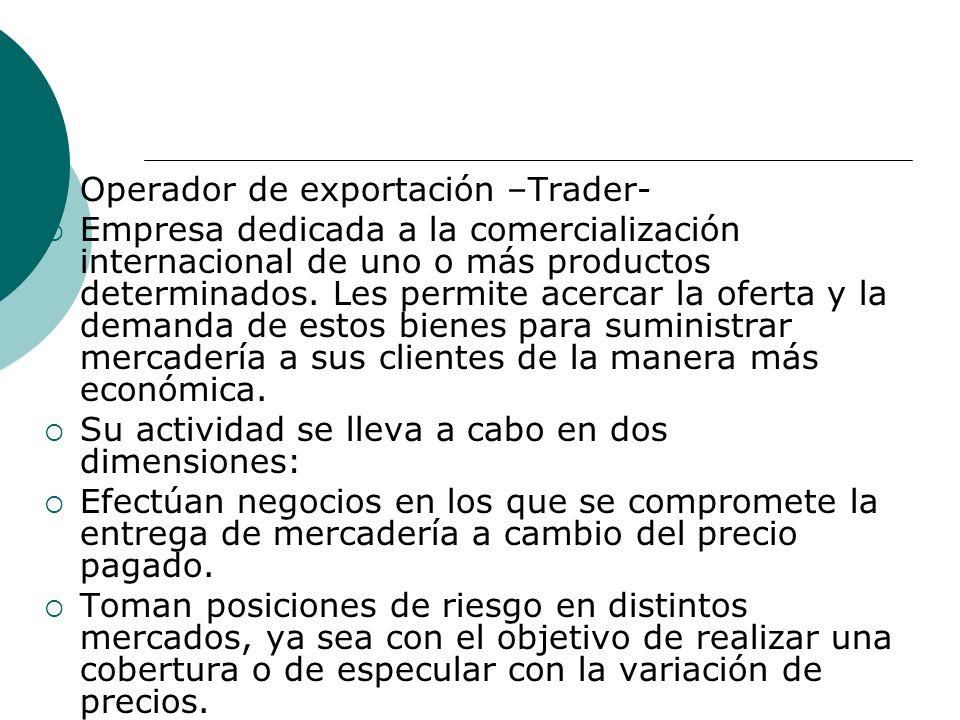 Operador de exportación –Trader- Empresa dedicada a la comercialización internacional de uno o más productos determinados.