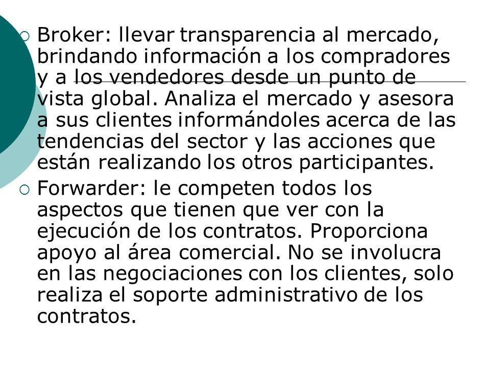 Broker: llevar transparencia al mercado, brindando información a los compradores y a los vendedores desde un punto de vista global.