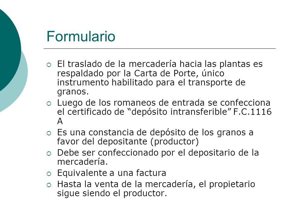 F.C.1116 A Datos de las partes Condiciones de entrega Mercadería depositada Liquidación de servicios Detalle de las remesas Fecha de emisión y las firmas del productor y depositario.