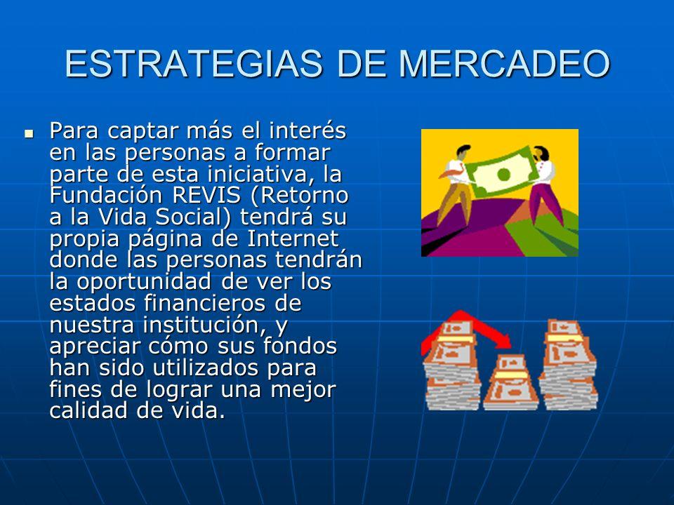 ESTRATEGIAS DE MERCADEO Para captar más el interés en las personas a formar parte de esta iniciativa, la Fundación REVIS (Retorno a la Vida Social) te