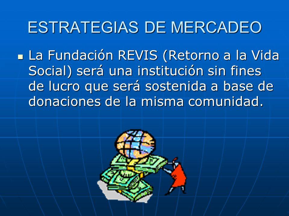 ESTRATEGIAS DE MERCADEO La Fundación REVIS (Retorno a la Vida Social) será una institución sin fines de lucro que será sostenida a base de donaciones