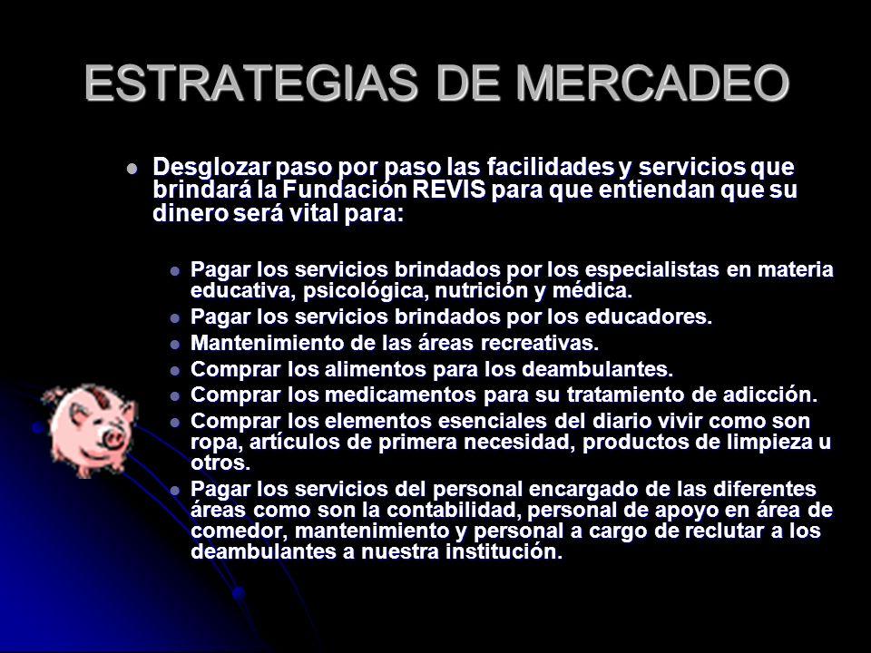 ESTRATEGIAS DE MERCADEO Desglozar paso por paso las facilidades y servicios que brindará la Fundación REVIS para que entiendan que su dinero será vita