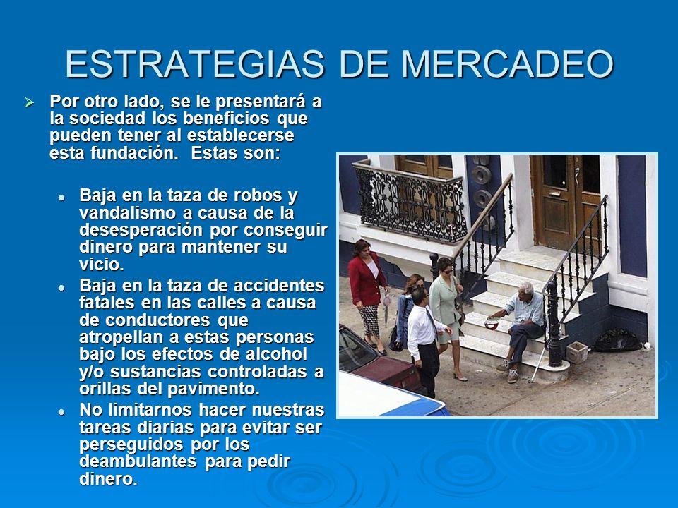ESTRATEGIAS DE MERCADEO Por otro lado, se le presentará a la sociedad los beneficios que pueden tener al establecerse esta fundación. Estas son: Por o
