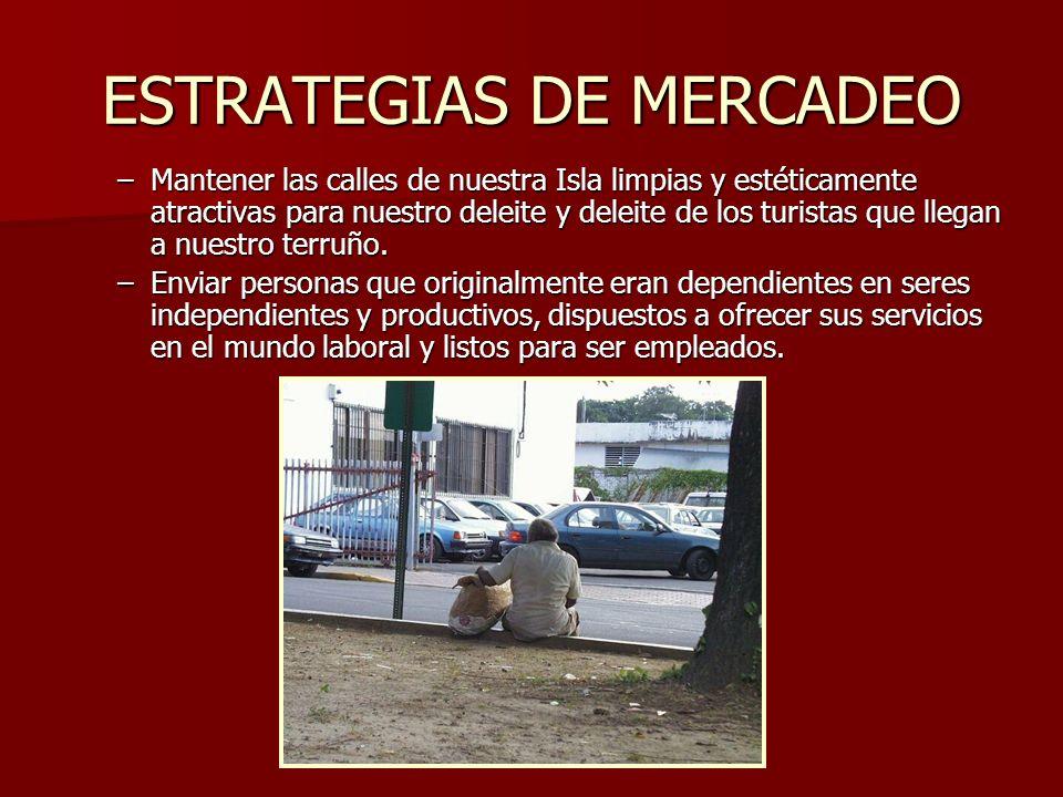 ESTRATEGIAS DE MERCADEO –Mantener las calles de nuestra Isla limpias y estéticamente atractivas para nuestro deleite y deleite de los turistas que lle
