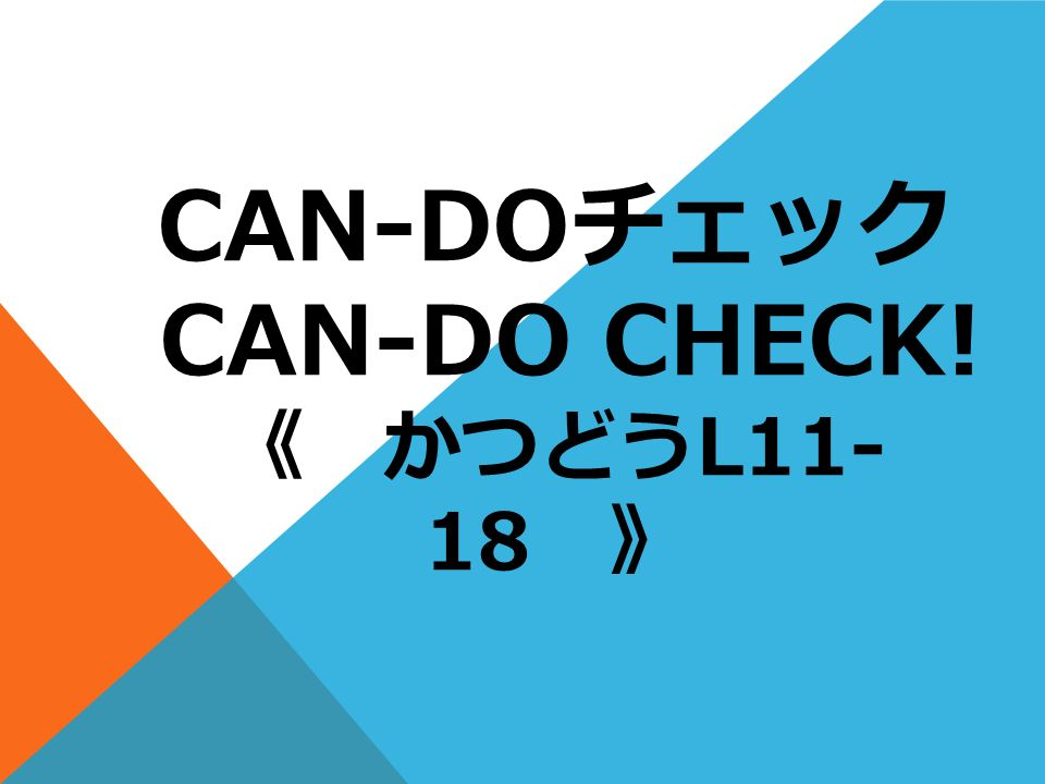 CAN-DO CAN-DO CHECK! L11- 18