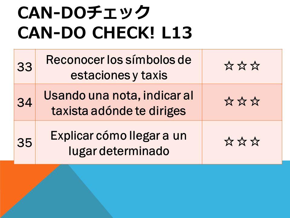 33 Reconocer los símbolos de estaciones y taxis 34 Usando una nota, indicar al taxista adónde te diriges 35 Explicar cómo llegar a un lugar determinado CAN-DO CAN-DO CHECK.