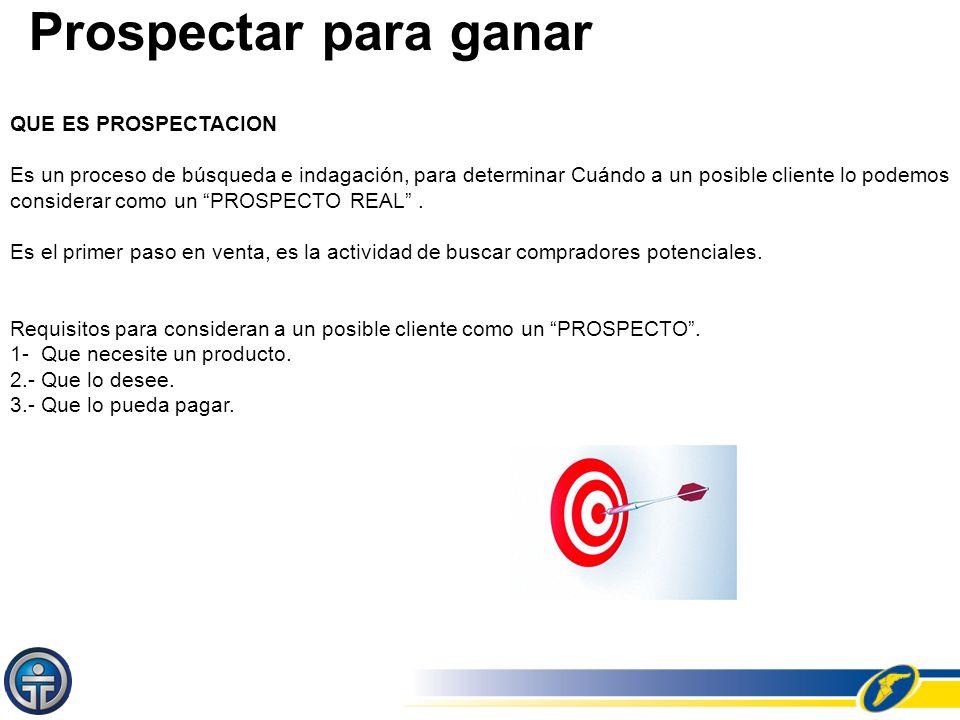 Prospectar para ganar QUE ES PROSPECTACION Es un proceso de búsqueda e indagación, para determinar Cuándo a un posible cliente lo podemos considerar c