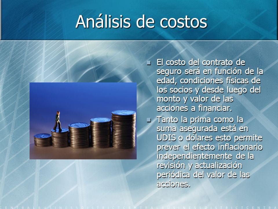 Análisis de costos El costo del contrato de seguro será en función de la edad, condiciones físicas de los socios y desde luego del monto y valor de las acciones a financiar.
