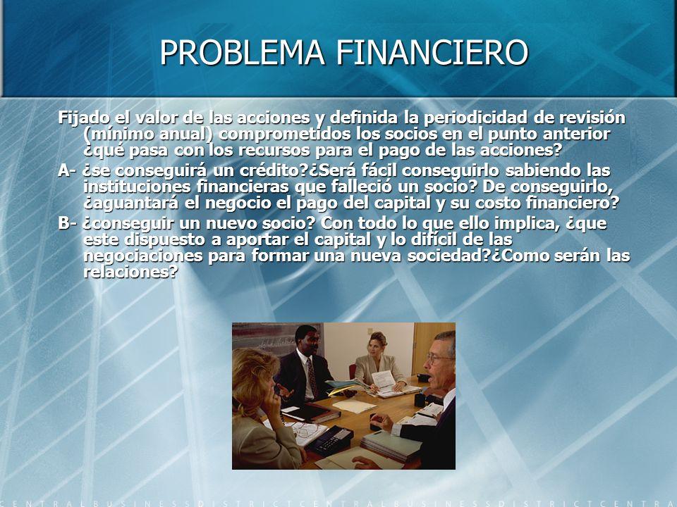 PROBLEMA FINANCIERO Fijado el valor de las acciones y definida la periodicidad de revisión (mínimo anual) comprometidos los socios en el punto anterior ¿qué pasa con los recursos para el pago de las acciones.