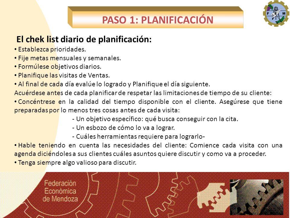 El chek list diario de planificación: Establezca prioridades. Fije metas mensuales y semanales. Formúlese objetivos diarios. Planifique las visitas de