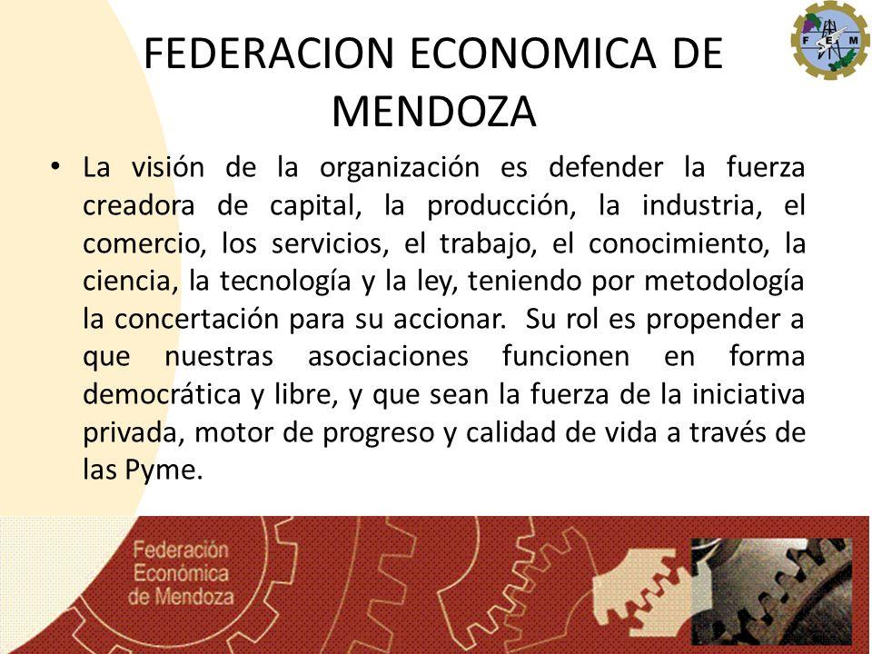 FEDERACION ECONOMICA DE MENDOZA La visión de la organización es defender la fuerza creadora de capital, la producción, la industria, el comercio, los