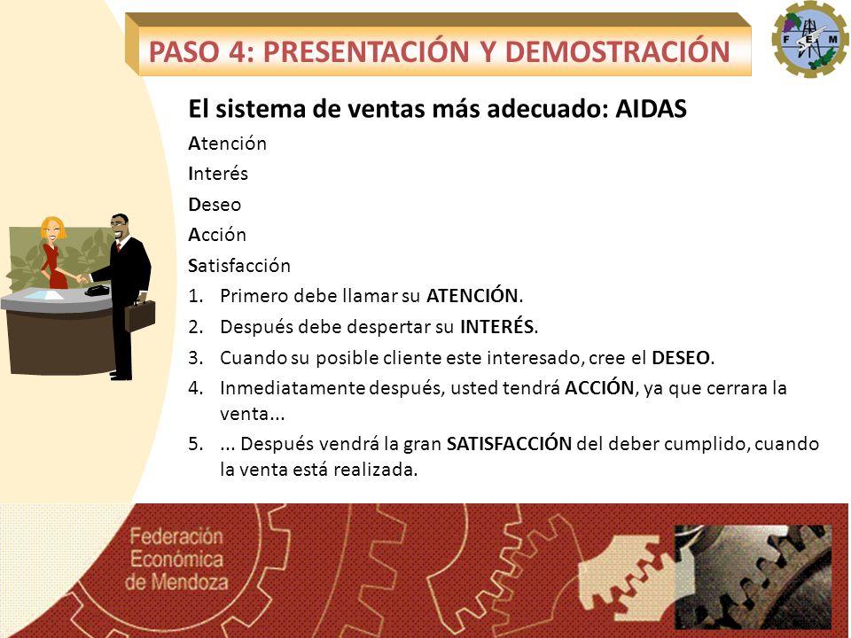 El sistema de ventas más adecuado: AIDAS Atención Interés Deseo Acción Satisfacción 1.Primero debe llamar su ATENCIÓN. 2.Después debe despertar su INT